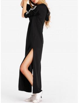 High Slit Maxi Hoodie Dress - Black M