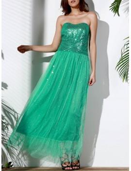 Strapless Sequin Long Swing Prom Evening Dress - Green M