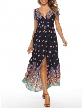 Floral Low Cut Slit Dress -  2xl