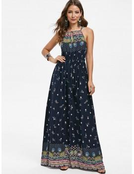 Bohemian Flower Sleeveless Dress - Cadetblue 2xl