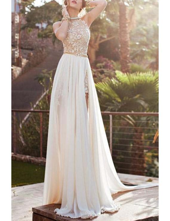Elegant Halter Neck Sleeveless Backless High Slit Women's Maxi Dress - White S