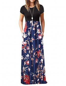 Floral Pockets Floor Length Dress -  M