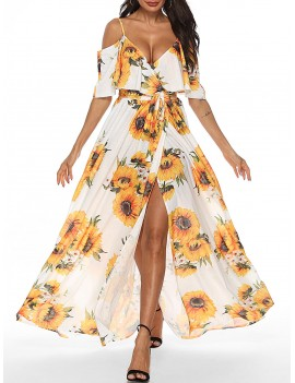 Sunflower Open Shoulder Flounce Dress -  Xl