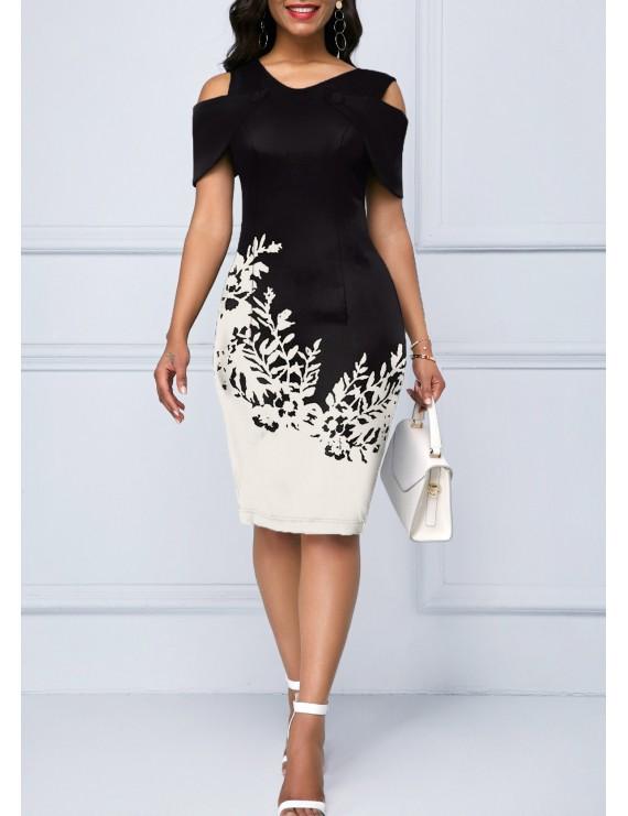Cold Shoulder Printed Short Sleeve Dress
