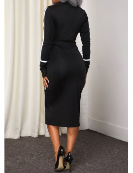 Contrast Stitch Long Sleeve Black Sheath Dress