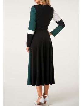 Back Zipper Long Sleeve Color Block Dress