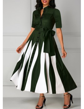 Button Up Belted Half Sleeve Printed Maxi Dress
