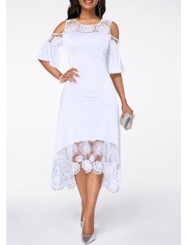 Cold Shoulder White Flare Cuff Lace Panel Dress