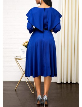 Three Quarter Sleeve Back Zipper Blue Dress