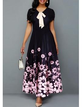 Bowknot Detail Short Sleeve Flower Print Dress