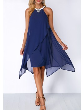 Chiffon Overlay Embellished Neck Blue Dress