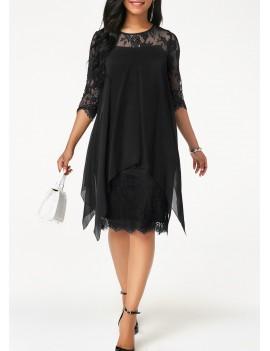 Chiffon Overlay Three Quarter Sleeve Black Lace Dress