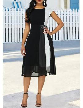 Cap Sleeve Color Block Pleated Detail Dress