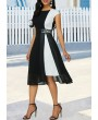 Cap Sleeve Color Block Pleated Detail Dress