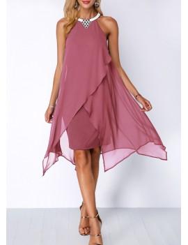 Chiffon Overlay Embellished Neck Asymmetric Hem Dress