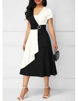 Color Block Short Sleeve High Waist Dress
