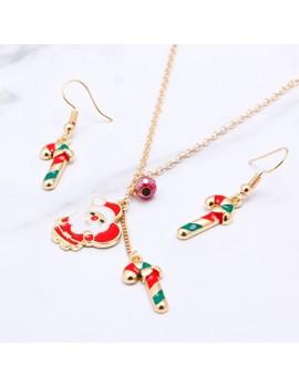 Christmas Candy Cane Embellished Necklace Set for Lady