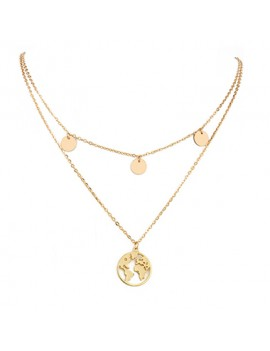 Gold Metal Circlet Pendant Layered Necklace for Women