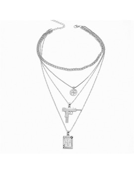 Pistol and Cross Pendant Layered Necklace