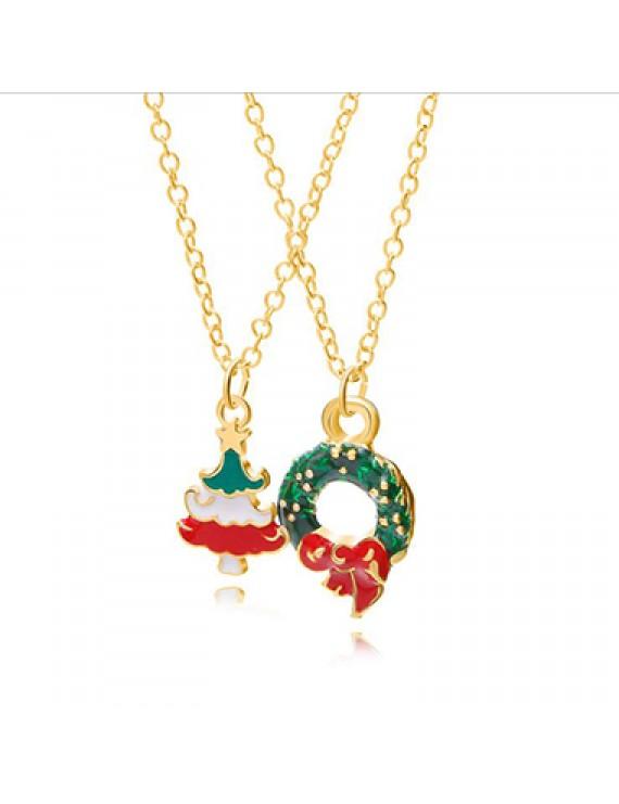 2pcs Christmas Wreath Pendant Necklaces for Lady