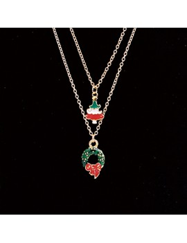 2pcs Christmas Wreath Pendant Necklaces for Lady