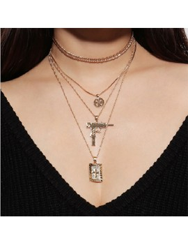 Cross and Pistol Pendant Layered Necklace