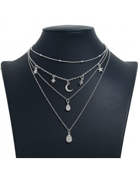 Moon Pendant Layered Silver Metal Necklace