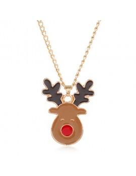 Christmas Reindeer Shape Gold Metal Necklace Set