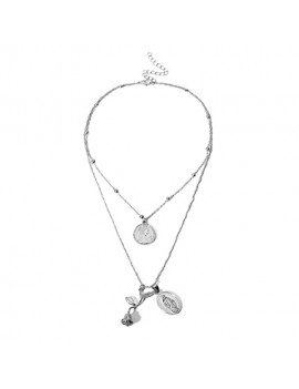 Coin Pendant Layered Necklace for Women