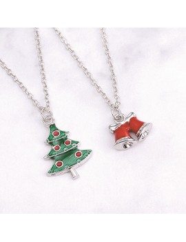 Bells and Tree Pendant Christmas Necklace Set