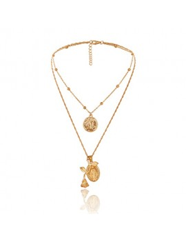 Coin Pendant Gold Metal Layered Necklace