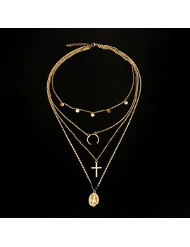 Crescent Moon and Cross Pendant Necklace