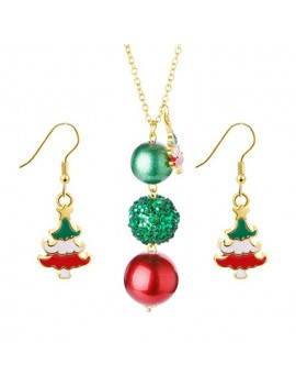 Christmas Tree and Ball Embellished Necklace Set