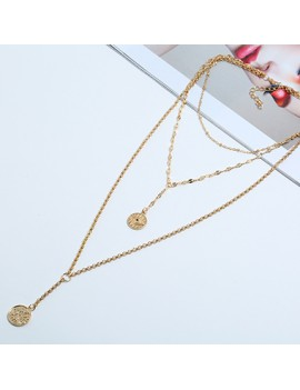 Coin Pendant Gold Metal Necklace for Women