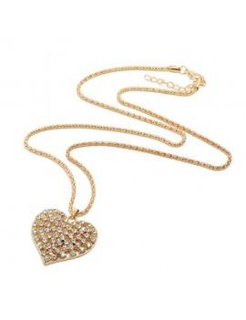 Rhinestone Detail Heart Shape Gold Metal Necklace