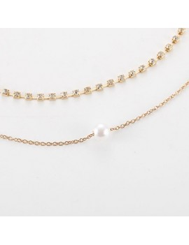 Pearl Embellished Gold Metal Necklace for Lady