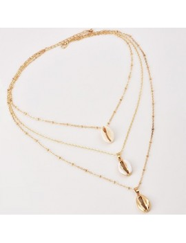 Layered Seashell Shaped Gold Metal Necklace