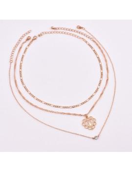 Rhinestone Embellished Criss Pendant Gold Necklace
