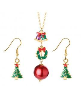 Gold Metal Christmas Tree Pendant Necklace Set
