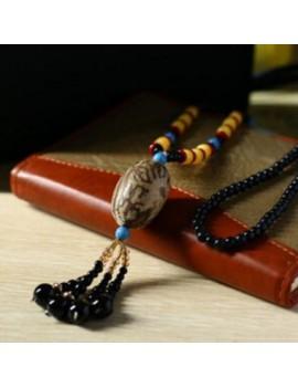 Black Tassel Pendant Bodhi Fruit Decorated Sweater Necklace