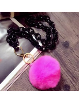 Metal Chain Pink Furry Ball Pendant Sweater Necklace