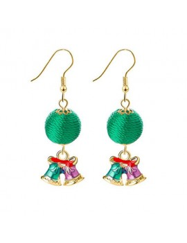Green Ball and Christmas Bell Pendant Gold Metal Earrings