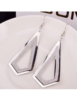 Woman Frosted Silver Metal Geometry Shape Earrings
