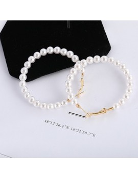 Pearl Embellished Gold Metal Earrings