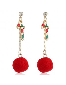Candy Cane Embellished Hair Ball Earrings
