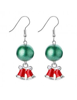 Green Ball and Christmas Bell Pendant Silver Metal Earrings