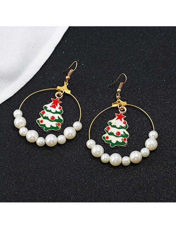Christmas Tree and Faux Pearl Pendant Earrings
