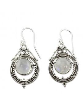 Rhinestone Decorated Silver Metal Earrings for Women