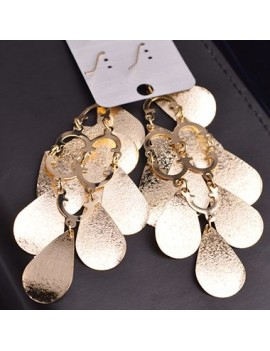 Woman Metal Fish Scale Embellished Pendant Gold Earrings