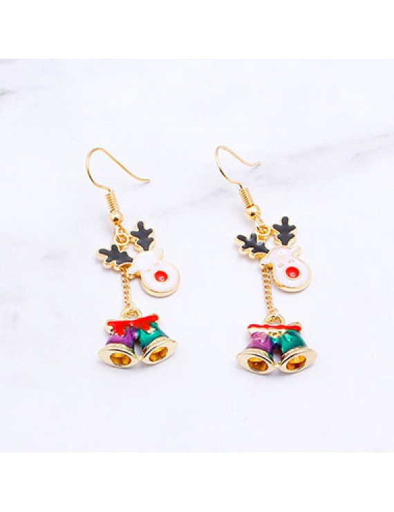 Elk and Christmas Bell Pendant Gold Metal Earrings